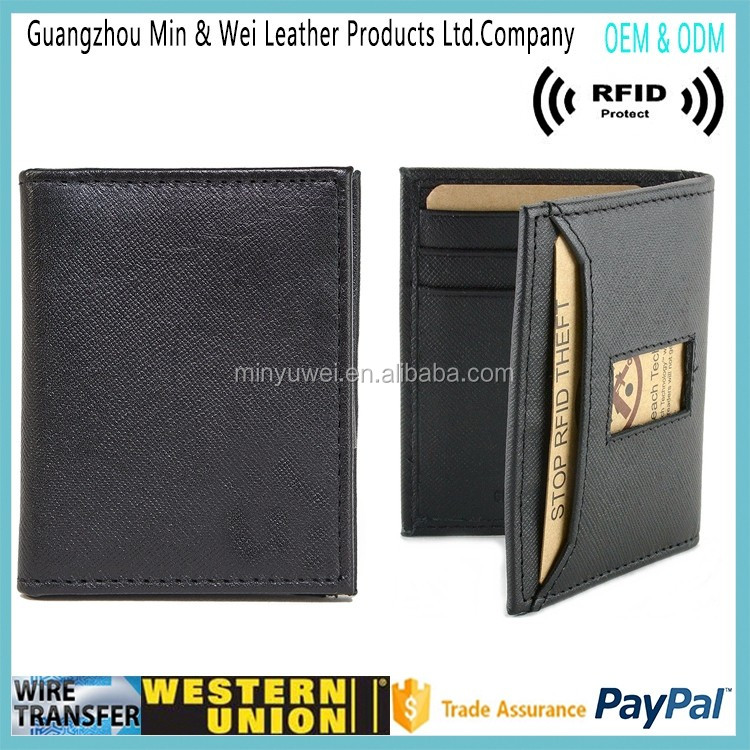 best quality New Design RFID Blocking Men's Leather ultra slim Cash Strap Money Clip Wallet