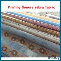 Flowers printed design on zebra blind fabric