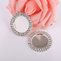 Custom Made 37mm Metal Embellishments Round Crystal Buttons for Wedding Dress