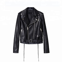 Customized european embroidered women genuine leather jacket