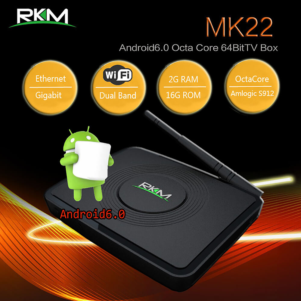RKM MK22 <strong>Tv</strong> <strong>Box</strong> Amlogic S912 Octa Core 64bit 4K <strong>Android</strong> 6.0 OS <strong>2G</strong> /16G Dual Band Wifi Gbit LAN Bluetooth <strong>Android</strong> <strong>Tv</strong> <strong>Box</strong>