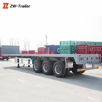 60Tons 3Axles Flat Bed Semi Truck Trailer with Container Locks