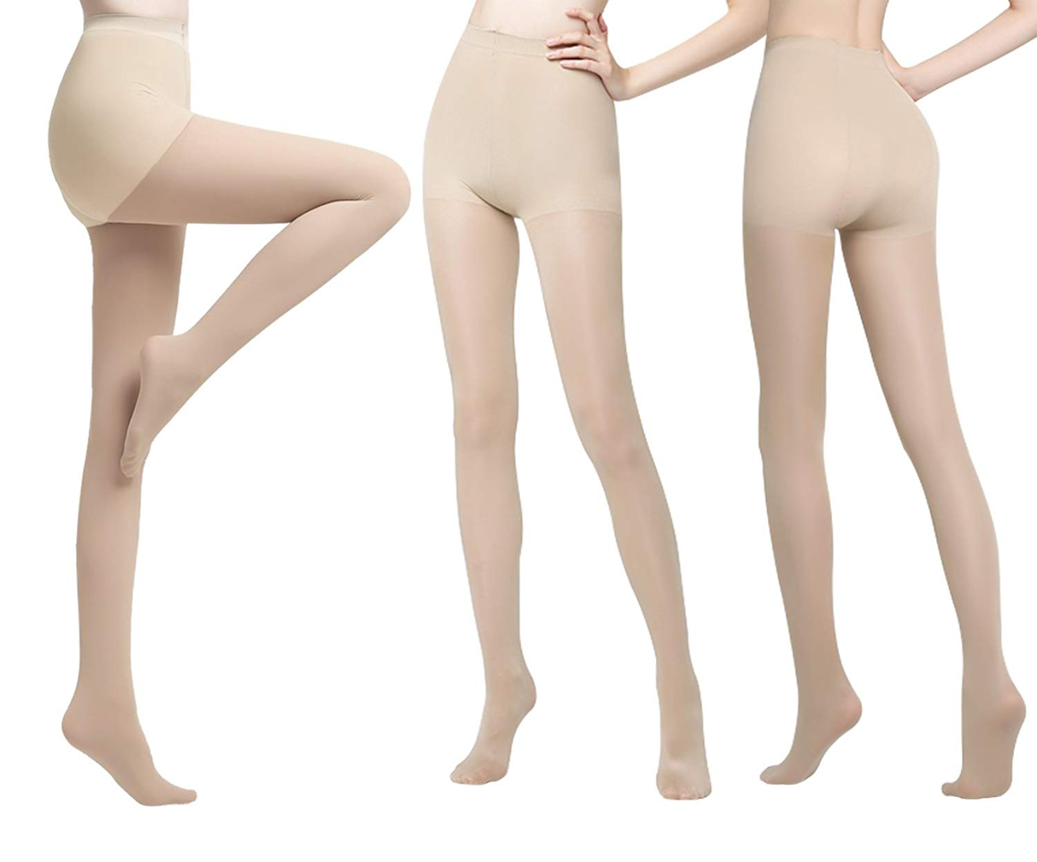 e36cc13686 Get Quotations · Women's Pantyhose Black Nude Control Top Sheer Tights  Nylons 3 Pack