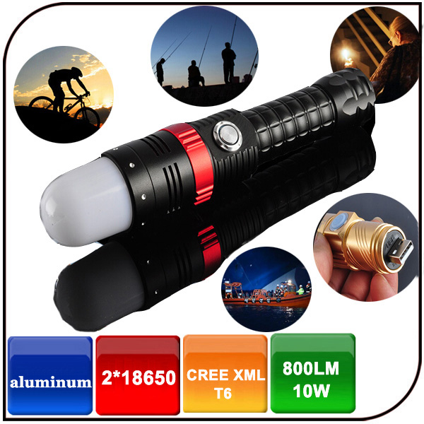 2 in 1waterproof aluminium alloy rechargeable CREE XML T6 led flashlight with magnet