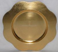 sun flower shape metal charger plates for gold sliver red black colors