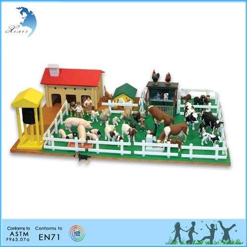 preschool EN71 toddler exercise wooden farm animals miniature garden