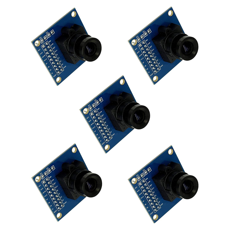 Optimus Electric 5pcs OV7670 Image Sensor Processor VGA Camera Module with Saturation, Hue, Gamma and White Balance Adjustment Capability from