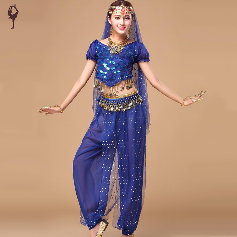 2016 Bollywood Dance Costumes 5pcs(Top+Pants+Waist Chain ...