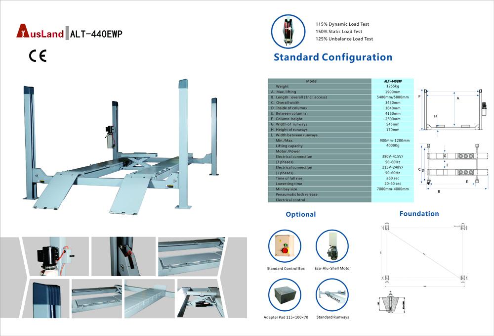 Ausland Alt 440ewp Four Post Car Lift Standard Configuration Used 4