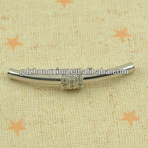 Tube shape metal fashion jewelry accessory bracelets connector with CZ pave