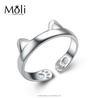 Cool Shiny Cat Plain 925 Sterling Silver Ring Jewelry for Valentine Birthday Gifts