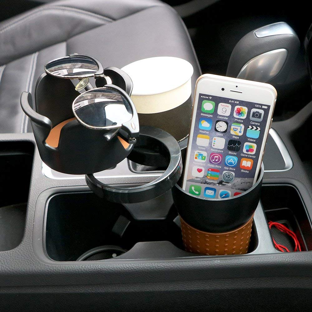 Car Cup Holder, Car-Styling Car Organizer Auto Sunglasses Drink Cup Holder Car Phone Holder for Coins Keys Phone Stand Interior Accessories (Black)