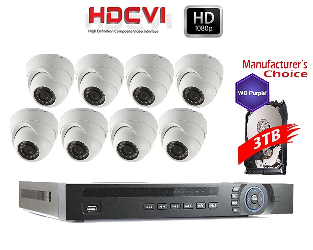 iCare 1080P Package: 16CH HDCVI DVR 3TB WD Purple HDD Pre-installed + 8 x 2MP IR Waterproof Mini Dome Camera, 3.6mm, 2 years warranty, Local Support