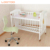 China manufacturer multifunction natural wooden bedding baby bed set crib with wheels