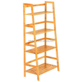 houten 4 tier opbergrek natuurlijke bamboe boekenkast met ladder