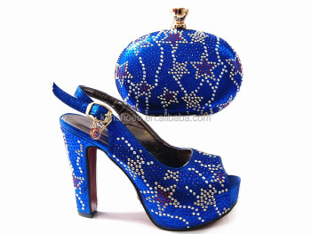 Purple Upscale African Woman Sandals Shoes And Bag Set Fashion Wedding High Heels Pumps Matching Bag G13-5