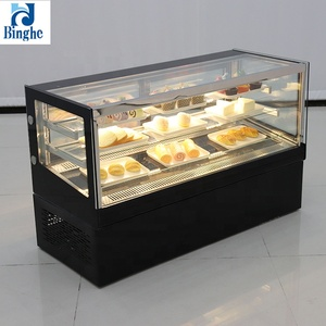 popular curved glass cover cake showcase refrigerated chocolate display case refrigerated cake display cabinet