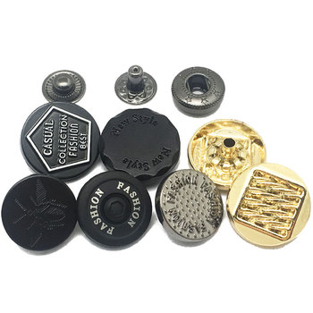 Custom No Minimum Embossed Blank Women Clothes Fancy Metal Black Snap Clip Buttons For Garments