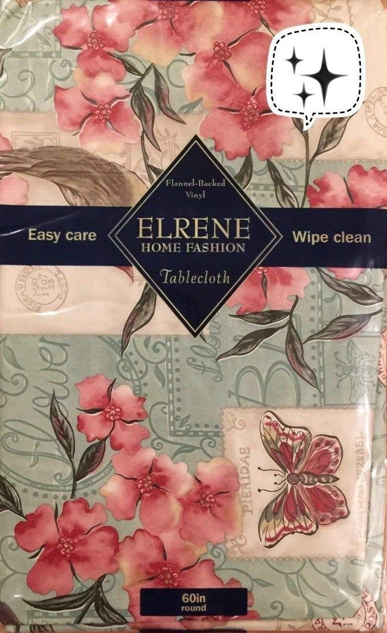 """Elrene Birds on Red Flower Tree and Butterfly Stamps Vinyl tablecloth Flannel Back (52""""x52"""" Square Seats 4)"""