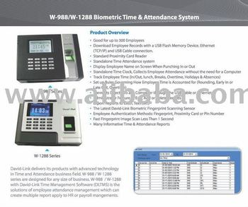 David-link W988 Biometric Time Clock - Buy Biometric Time Clock Product on  Alibaba com