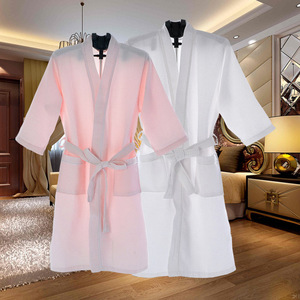 Comfortable Waffle Bath robes Bathrobe 100% cotton spa robes for Home and Hotel