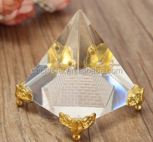 MH-JT0096 Glass Pyramid with golden corner
