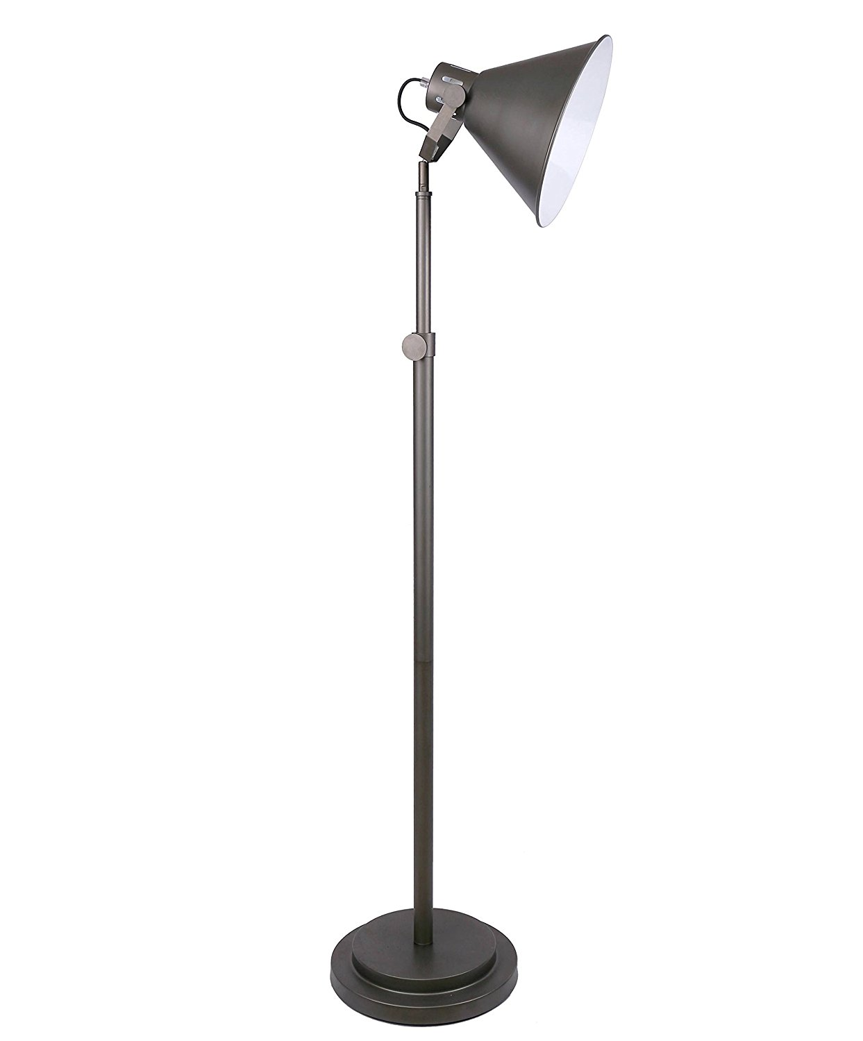 "Grandview Gallery Cast Iron Adjustable Metal Floor Lamp Adjustable 55""- 63"" Industrial Design for Living Room, Study and More"