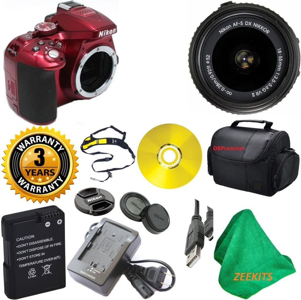 Nikon D5300 24.2 MP CMOS Red DSLR Camera with 18-55mm f/3.5-5.6G VR II Auto Focus-S DX NIKKOR Zoom Lens with Deluxe Case + 3 Year Worldwide Warranty - International Version