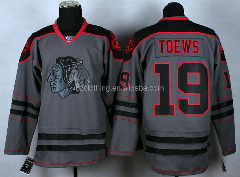 b218b65ea ... Chicago Blackhawks 19 Jonathan Toews Gray Hockey Jerseys ...