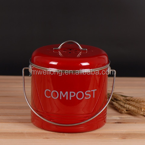 New Kitchen Metal Compost Bin Round Compost Pail With Handle