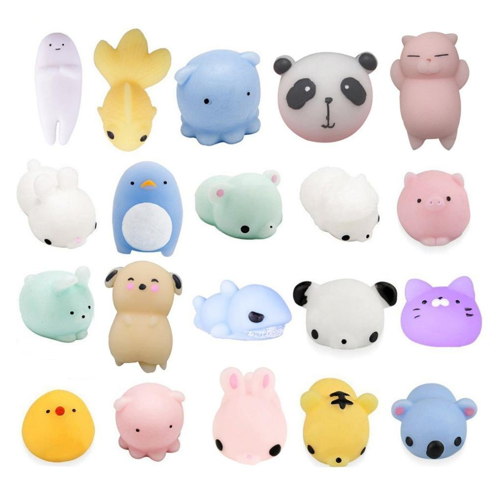 Inkach Mochi Squishy Slow Rising Toys for Kids - 20pcs Kawaii Animals Stress Relief Squeeze Squishies Toy