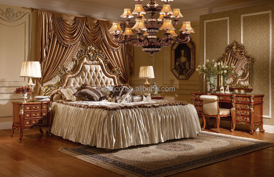 Victoria Style Queen Bed With Night Stand,Luxury Gold Bedroom Furniture  Set,Exquisite Carved Wooden Bed Set - Buy Royal Furniture Antique Golden  Bed ...