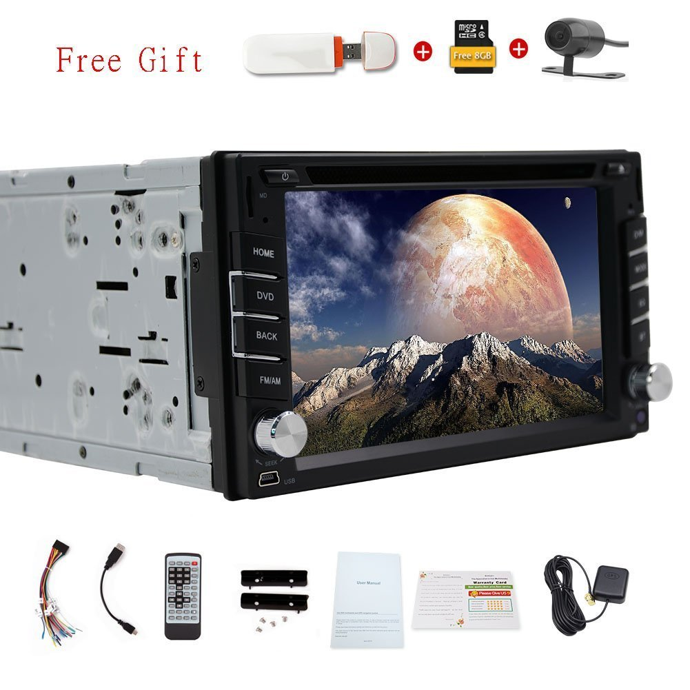 Hot Sale Car Electronics Universal Double din car dvd player gps 2 din car radio Bluetooth Free Map Card 3g Dongle for Internet In dash car Stereo+Free rear camera