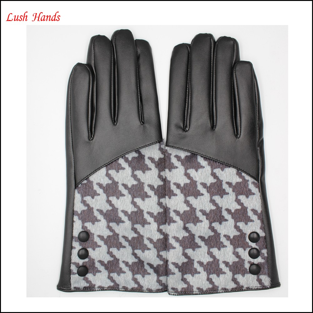 2016 Ladies new style cheap leather glove PU leather glove and fake fur splicing