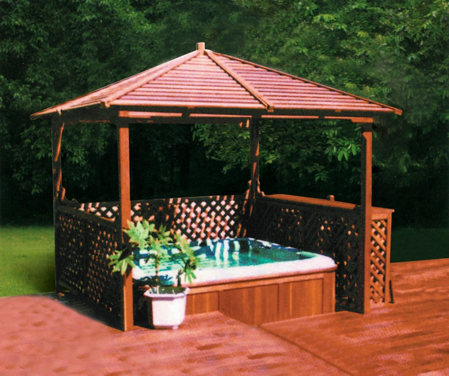 Hot Tubs Gazebo Ps Wood Arbor M 903 Spas Shelter Ps Canopy