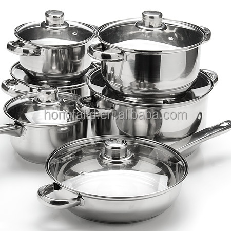 wholesale 12 pcs CooKware sets cheap stainless steel cooking pan and pot sets
