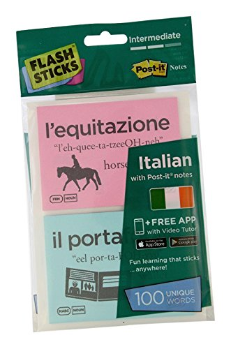 FlashSticks® Italian Flash Cards (Intermediate) | Best Way to Learn to Speak Italian | No Language Courses Needed | 100 Advanced Vocabulary Study Cards Make Learning a Game | Free Online App Helps With Pronunciation | Perfect For Adults & Kids