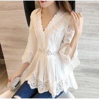 White Lace Tunic Ruffles Women's Shirts Blouse V-neck Hollow out 3/4 Sleeve Blouses Spring Summer Patchwork Office Lady Top