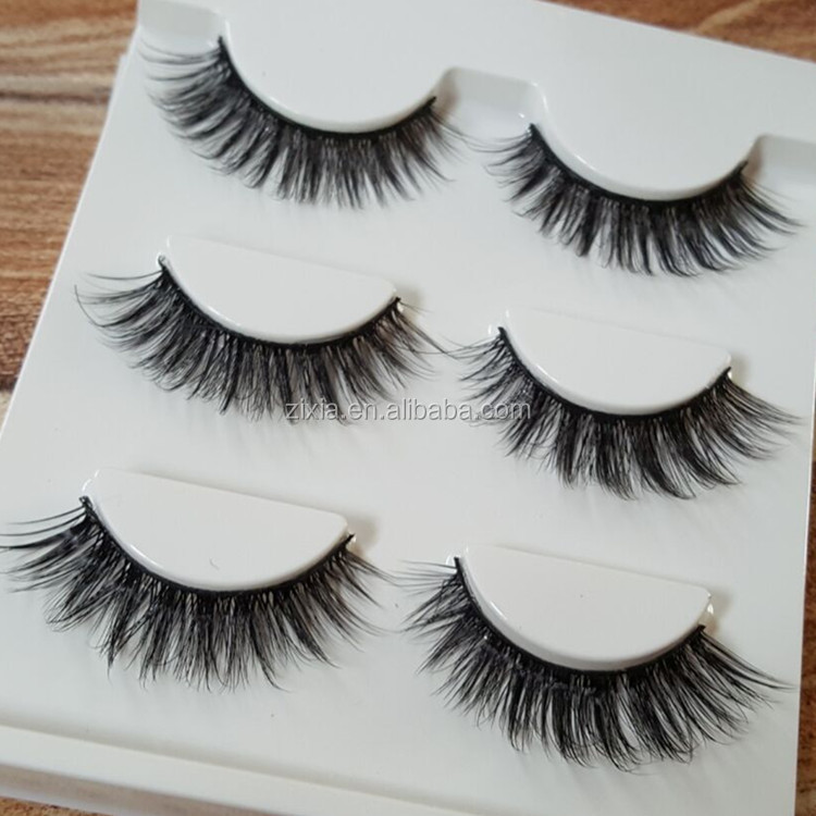 Mke your own logo 3D handmade false eyelashes natural cross eyelashes