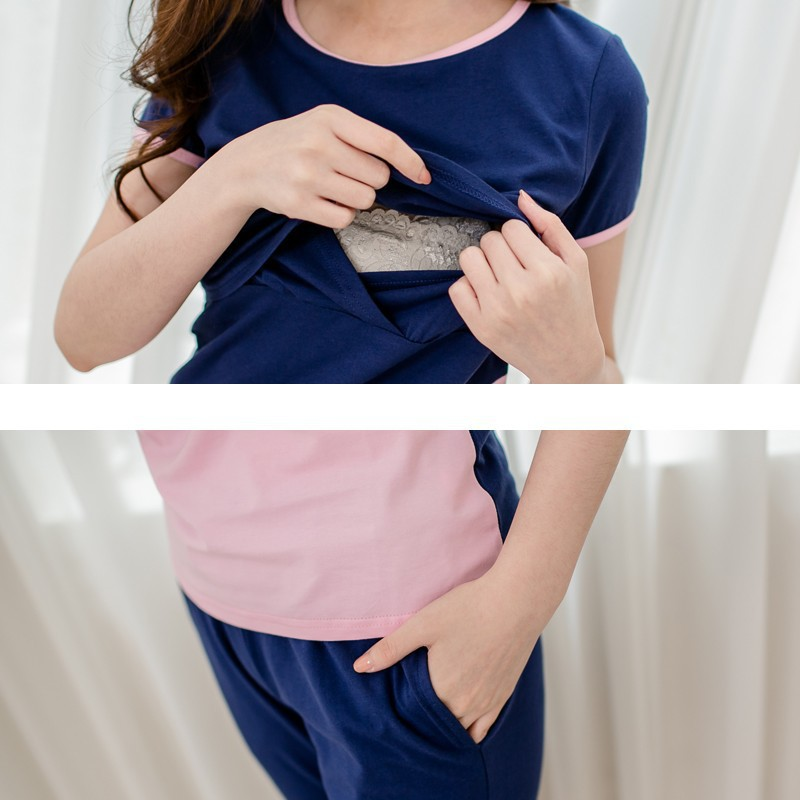 Wholesale Leisure Sport Suit stripe short sleeve maternity tops breastfeeding nursing clothes