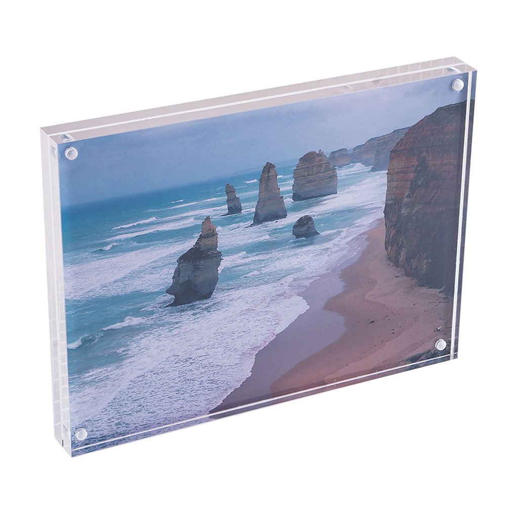 """Magnetic Photo Frame, Transparent Clear Frameless Acrylic Picture Frame 6""""x8"""", (10+10mm) Thickness, Stand in Table/Desk by QC Life"""