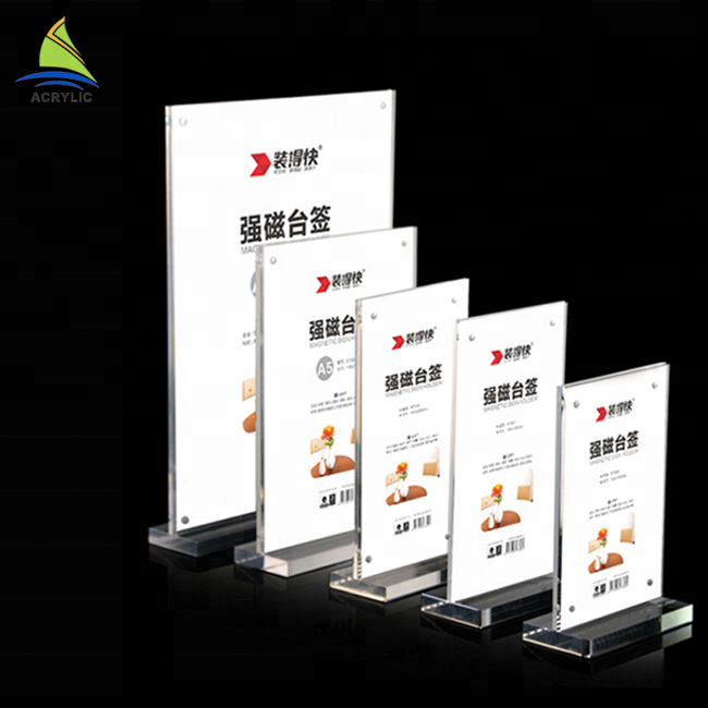 Reliable 210x297mm A4 Clear Acrylic Sign Display Paper Card Label Holder Vertical T Stands By Magnet Sucked On Table 50pcs Good Quality Desk Accessories & Organizer Office & School Supplies