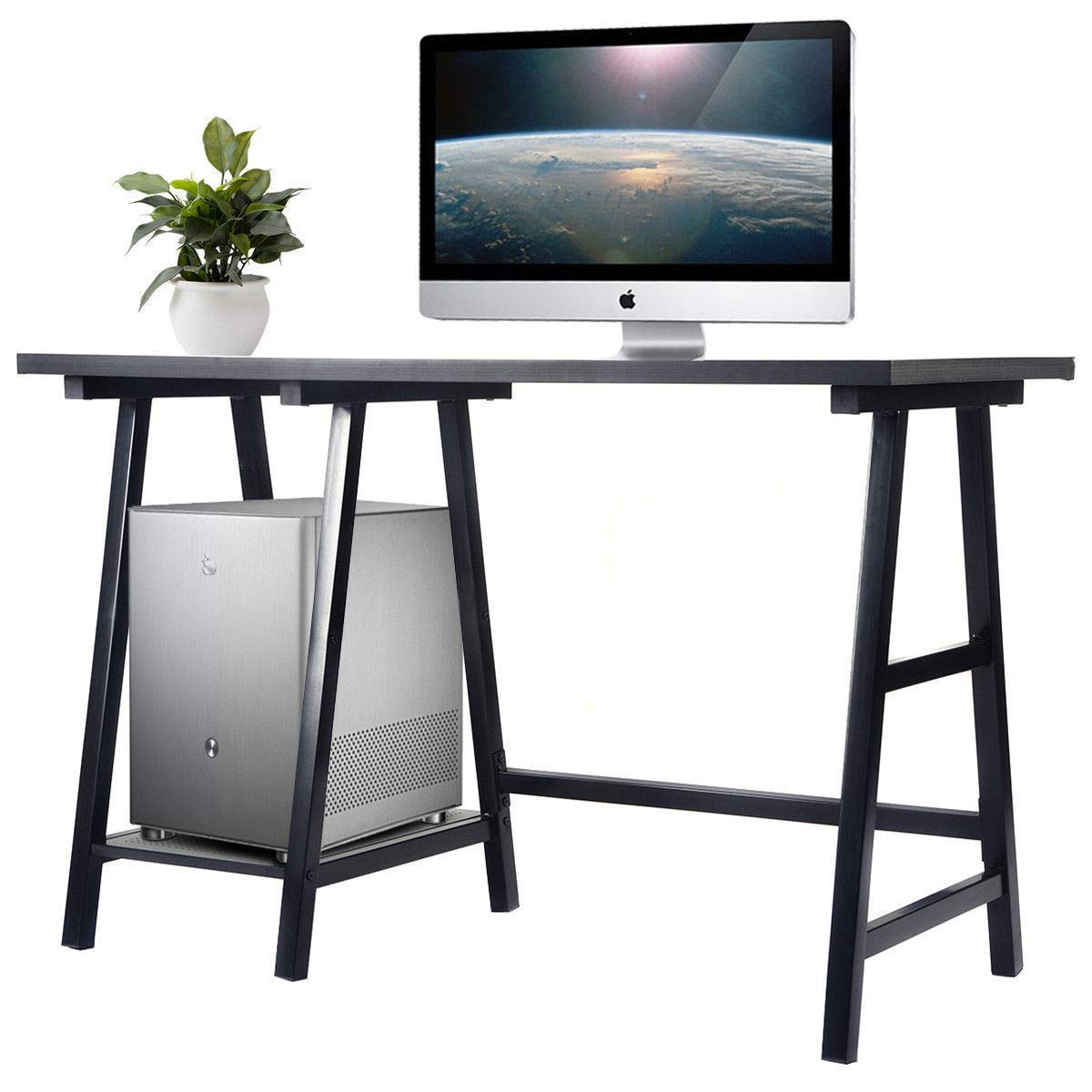 AK Energy Modern Office Trestle Desk Laptop Study Writing Table Shelf Computer Desk Black Top