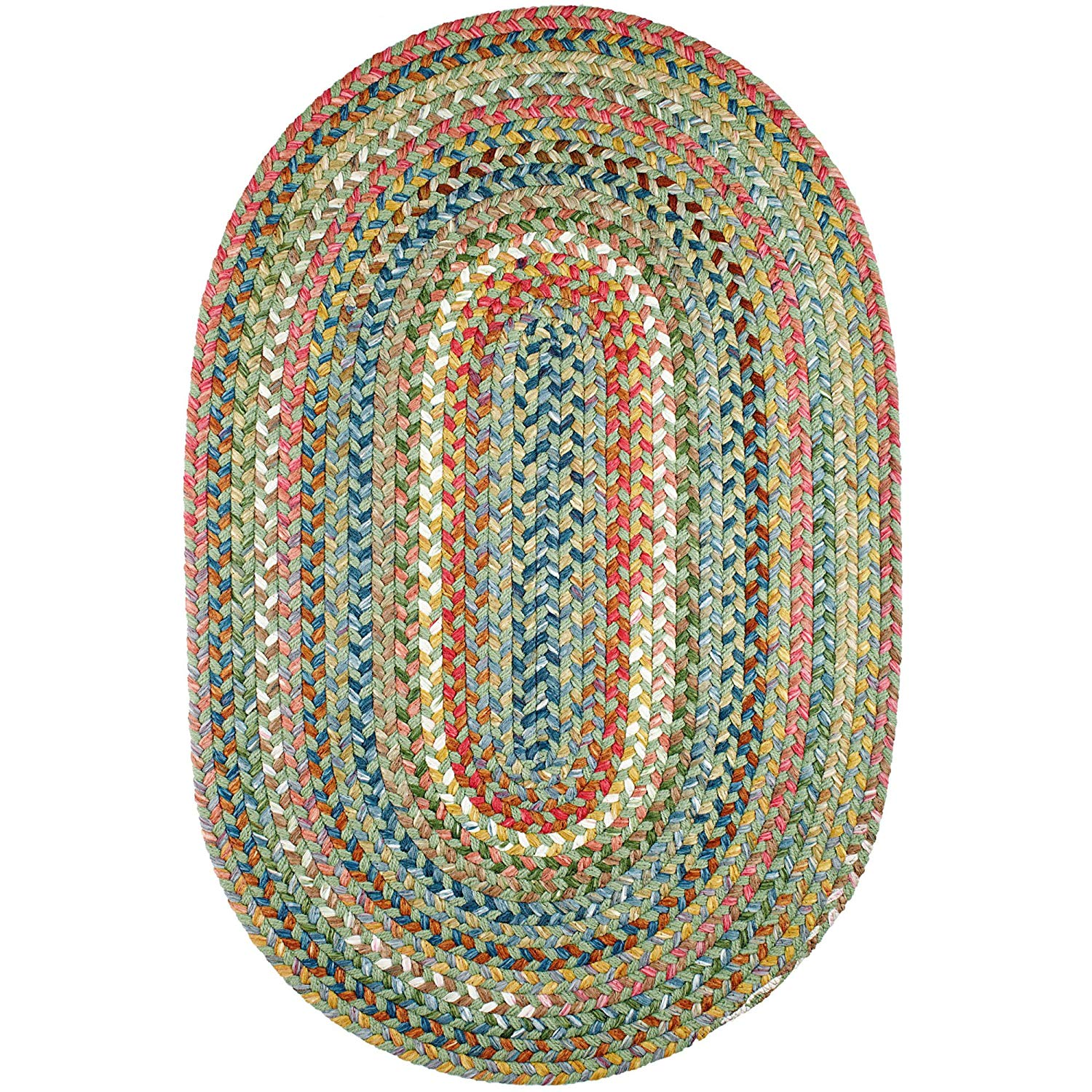 Super Area Rugs Gemstone Textured Braided Rug Indoor/Outdoor Rug Durable Green Kitchen Carpet, 5' X 8' Oval