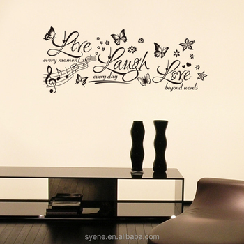 3d Wall Sticker Butterfly Art Vinyl Quotes Live Laugh Love Wall Decals  Letters Words Flower Decorative