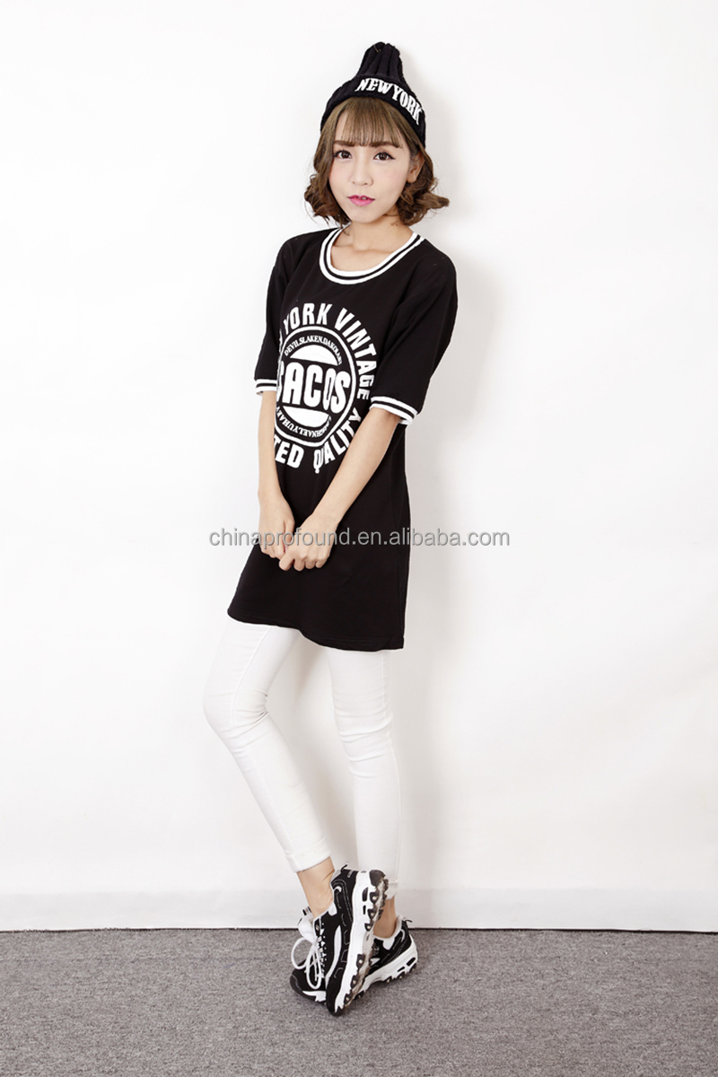 Ladies T-shirt Print Design Longline Black T-shirt Custom Printing ...