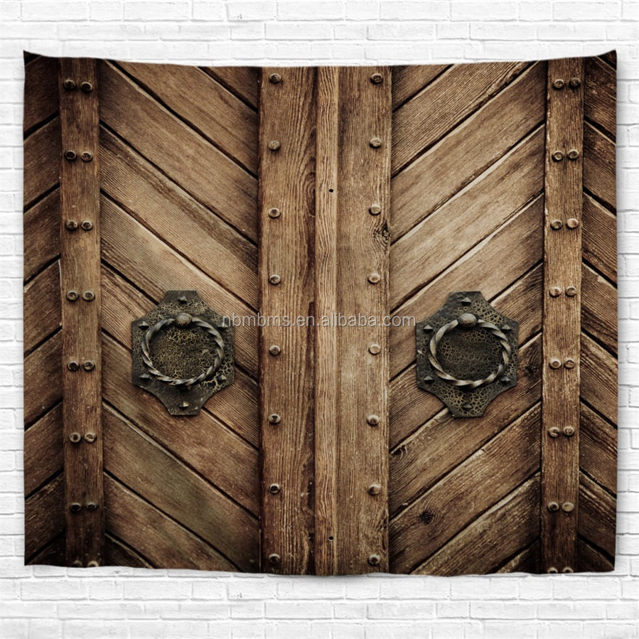 QJMAX High Quality Rivet Wooden Door Chinese Tapestry Wall Hangings