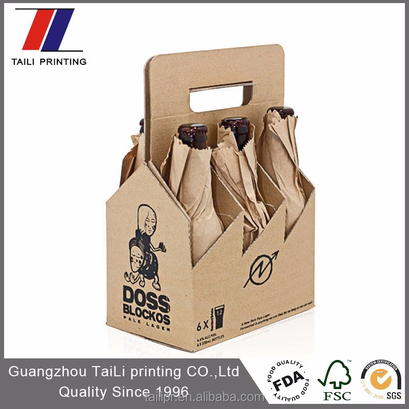 Take away strong structure drink carrier/cardboard 6 pack bottle beer carriers