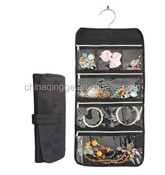 8 Zippered Pockets Travel Jewelry Roll up Organizer with Rotatable Hanger