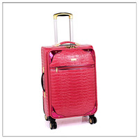 colorful capacity high quality pu leather trolley travel school luggage